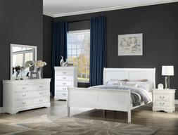 NEW Queen or King 5PC White Sleigh Bedroom Set Modern Furnit