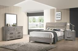 NEW Rustic Gray Brown Queen or King 4PC Bedroom Set Modern F