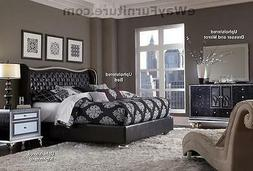 AICO Starry Night King Tufted Black Leather & Crystal Bed Be